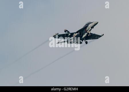 Un chasseur à réaction Boeing EA-18 G Growler avec le VAQ-141, escadron d'Attaque électronique de la marine américaine, connu sous le nom de 'Shadowhawkss' qui survole Kanagawa, Japon