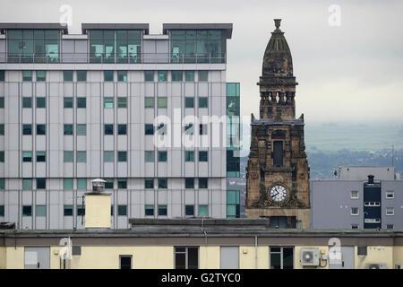 L'Écosse, Glasgow, centre-ville ouest, Alexander 'Greek' Thomson St Vincent Street Free Church of Scotland, vue Banque D'Images