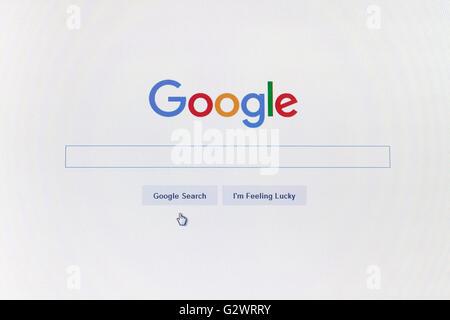 GDANSK, POLOGNE - Le 14 mai 2016. Page d'accueil de Google.com et le curseur sur l'écran de l'ordinateur. Utilisez Banque D'Images
