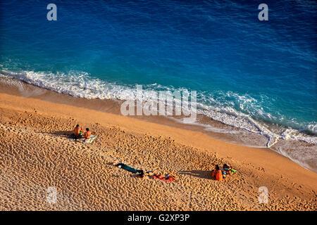 Plage de Kaputas, entre villes, Kalkan, Kas Lycie, Antalya province, la Lycie, la Turquie. Banque D'Images