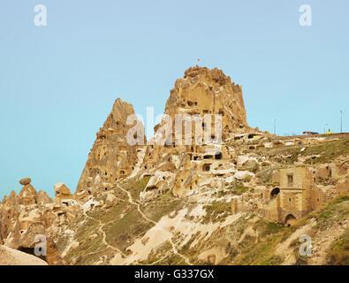 Magnifique vue sur le château d''Uchisar en Cappadoce, Turquie Banque D'Images