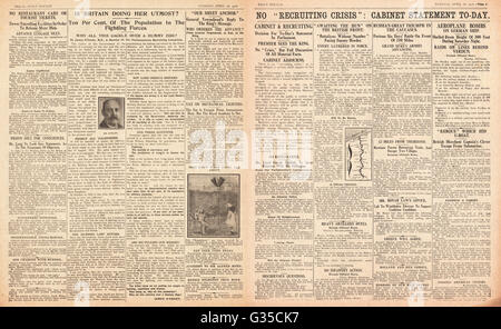1916 Daily Sketch pages 2 & 3 déclaration du Cabinet sur 'crise' cruiting Banque D'Images