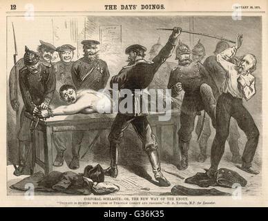 Soldats prussiens fouetter un Français qui ne coopère pas avec eux pendant la guerre franco-prussienne. Date: 1870 Banque D'Images