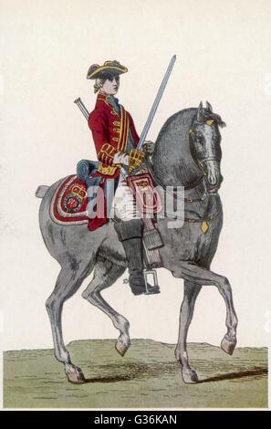 Officier britannique de la 1ère cavalerie de la garde, à cheval Date: 1742 Banque D'Images