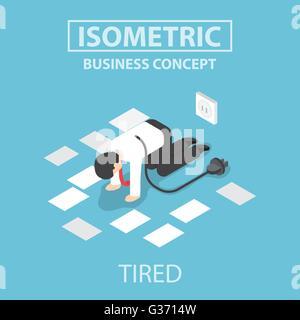 Tired businessman débranchez et arrêter de travailler, télévision web design 3D isométrique, vecteur, EPS10 Banque D'Images