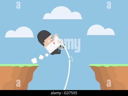 Businessman à la perche de l'autre côté de la falaise, mais il échoue, VECTOR, EPS10 Banque D'Images