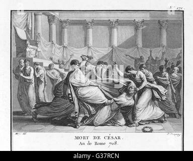 Jules César est assassiné au Sénat par Brutus et ses compagnons Date: 15 mars 44 av. Banque D'Images
