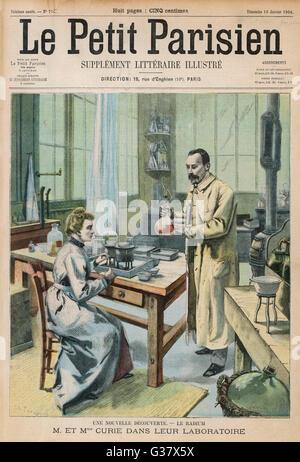 MARIE ET PIERRE CURIE Les scientifiques français dans leur laboratoire Date: 1867-1934: 1859-1906 Banque D'Images