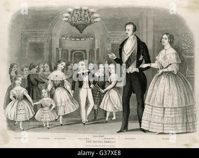 La reine Victoria avec Albert et le reste de la famille. Les enfants de gauche à droite: Princess Helena, la princesse Banque D'Images