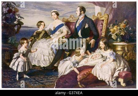 La reine Victoria avec Albert, Edward, princesse royale, Alice, Alfred et Helena à Osborne. Date: vers 1848 Banque D'Images