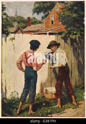 """Tom Sawyer blanchir la barrière: """"un garçon ne obtenir une chance de faire oublier une clôture tous les jours?"""" Banque D'Images"""