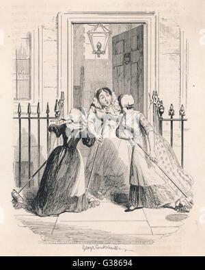'Le Matin' Gossip un stage de membres nouvelles avec ses voisins comme elle balaie les marches Date: 1849 Banque D'Images