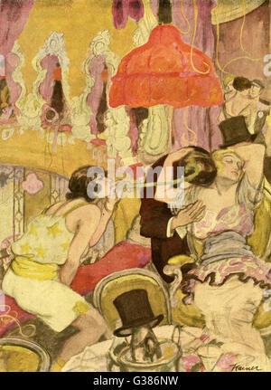 La compagnie de deux, trois n'est pas, à un carnaval Allemand Date: 1922 Banque D'Images