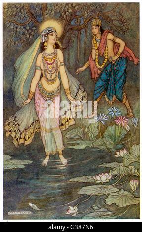 Shantanu King répond à Ganga, la déesse du Gange, et elle devient son premier imprimeur à condition qu'il ne parle Banque D'Images