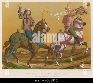 Un tournoi est annoncé par un trompettiste et herald en France Date: 15e siècle Banque D'Images