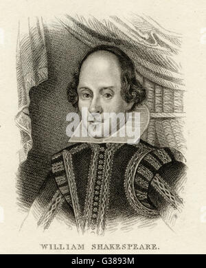 WILLIAM SHAKESPEARE (1564 - 1616), dramaturge et poète anglais. Banque D'Images