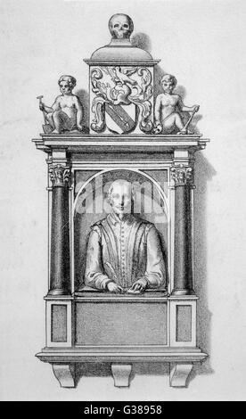 WILLIAM SHAKESPEARE poète et dramaturge anglais. Monument de l'église de Stratford. Date: 1564 - 1616 Banque D'Images