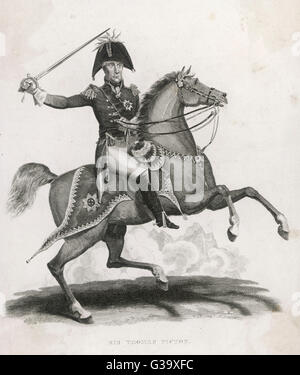 SIR THOMAS PICTON Officier de l'armée britannique sur son cheval Date: 1758 - 1815 Banque D'Images