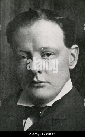 Winston Churchill (1874-1965) - homme d'État britannique et ancien Premier Ministre du Royaume-Uni. Date: 1906 Banque D'Images