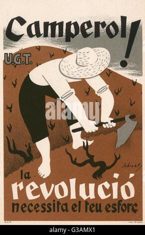 L'Espagnol affiche de l'Union Générale des Travailleurs (UGT) faisant appel à des travailleurs de pays: 'paysans! Banque D'Images