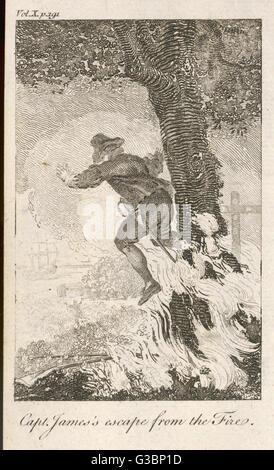 Un homme prend un tournant jump, flammes lécher ses talons, qu'il fait une tentative de retour à un navire qui l'attend Banque D'Images