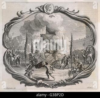 Le grand bûcher de Jules César est éclairé par des torches qui à son tour l'ignates écartèlement du peuple romain. Banque D'Images
