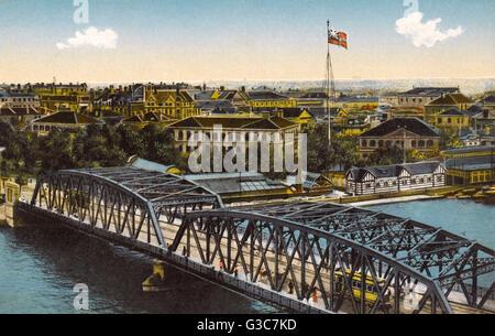 Shanghai, Chine - Waibaidu (jardin) Pont sur la rivière Suzhou Date: vers 1909 Banque D'Images