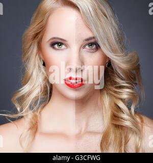 Retoucher,face de belle jeune femme avant et après la retouche Banque D'Images