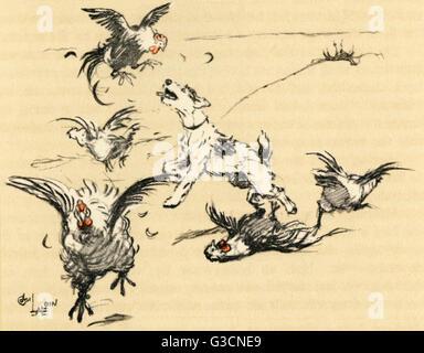 Illustration par Cecil Aldin, un chien appelé John Hogg, qui a continué de tuer la volaille, en dépit des efforts Banque D'Images