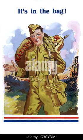 """WW2 - soldat britannique a le nazisme """"dans le sac""""! Une carte postale très optimistes publié au début de la guerre, la prévision fin rapidement aux procédures dans les Alliés pour. Date: vers 1940"""