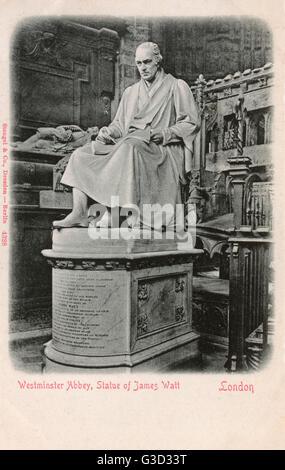 Statue de James Watt (1736-1819), Écossais inventeur et ingénieur en mécanique à l'abbaye de Westminster, Londres. Banque D'Images
