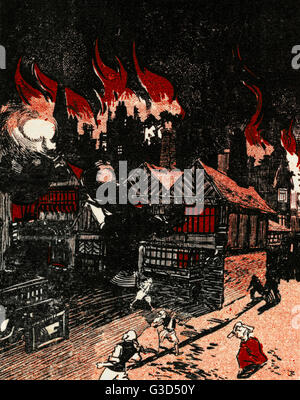 Le grand incendie de Londres, qui a commencé à la boulangerie de Thomas Farriner (ou Farynor) Le Pudding Lane, peu Banque D'Images