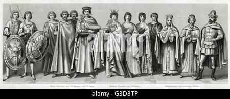 Costume médiéval, de gauche à droite: l'empereur byzantin Justinien avec les responsables de la cour et les gardes, Banque D'Images
