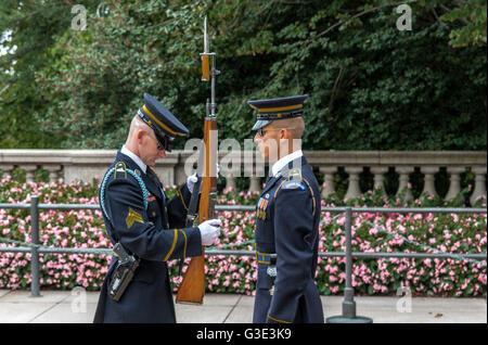 Changement de la Garde , tombe du Soldat inconnu, le Cimetière National d'Arlington , Washington DC . USA Banque D'Images