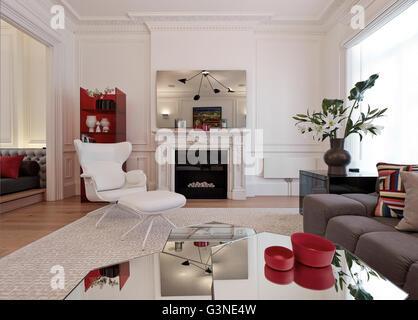 Salon au 2ème étage. Résidence privée London, Londres, Royaume-Uni. Architecte: Rajiv Sani et associés , 2015. Banque D'Images