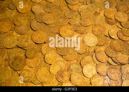 Pièces d'or antiques comme arrière-plan Banque D'Images