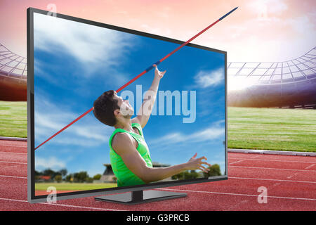 Image composite de l'athletic man throwing a javelin Banque D'Images