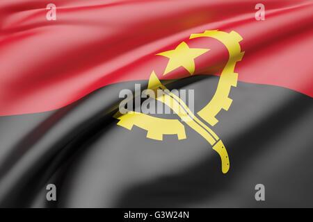 Le rendu 3D de République de brandir le drapeau de l'Angola Banque D'Images