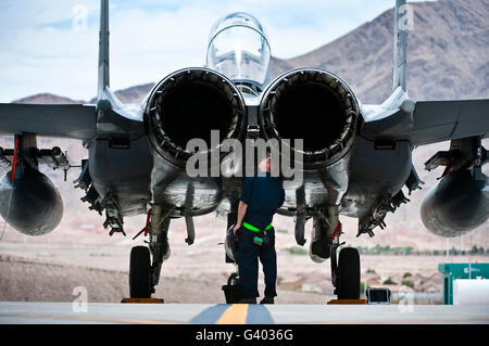Airman inspecte un F-15E Strike Eagle.