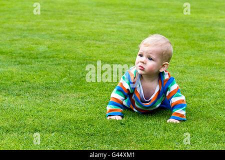 Portrait d'un bébé ramper sur l'herbe Banque D'Images