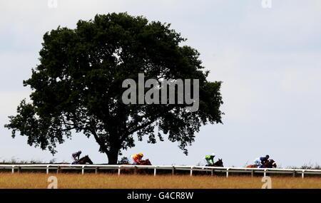 Les coureurs et les cavaliers pendant les premières étapes du Ambulance St John réclamant des enjeux