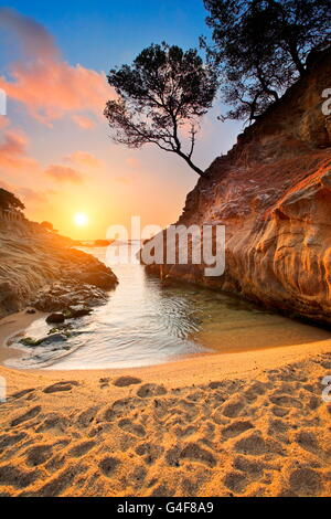 Lever du soleil à Costa Brava, Espagne Banque D'Images