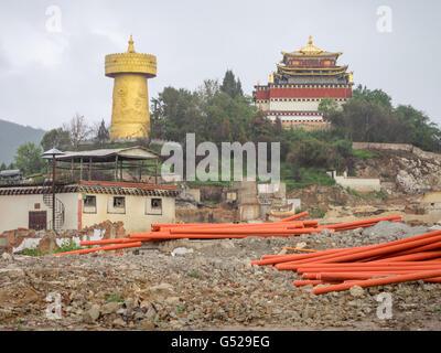 La Chine, le Yunnan Diqing Sheng, Zangzuzizhizhou, la vieille ville de Shangri-La, détruit par un incendie le 11 Banque D'Images