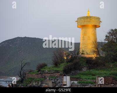 La Chine, le Yunnan Sheng, Diqing, Zangzuzizhizhou la prière dérive de Shangri-La, la vieille ville a été détruite Banque D'Images