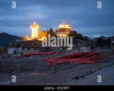 La Chine, le Yunnan Sheng, Diqing, Zangzuzizhizhou la prière fût par nuit, la vieille ville de Shangri-La, détruit Banque D'Images