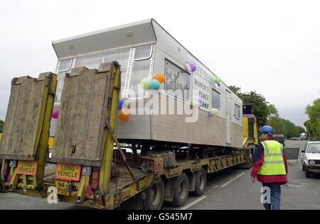 Dernière caravane quitte Greenham Banque D'Images