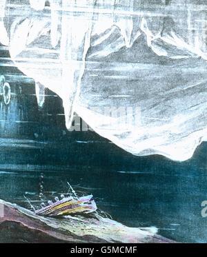 Schiffsrack auf dem Grund des Ozeans. Épave sur le terrain d'un océan.