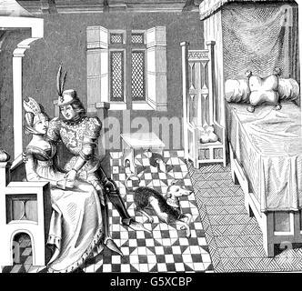 Moyen âge, personnes, chevalier avec son épouse dans la chambre à coucher, après une miniature du poème 'Othea' Banque D'Images