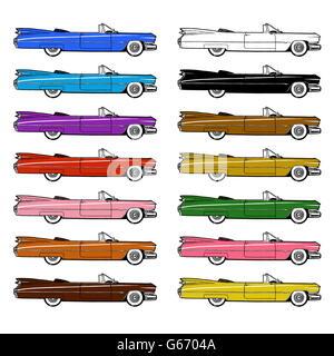 1959 voiture rétro Authentique Classique jeu isolé sur fond blanc. Peinture numérique illustration style de dessin Banque D'Images