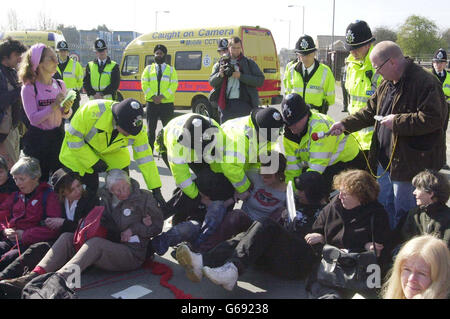 Les femmes âgées - protester contre la guerre Banque D'Images